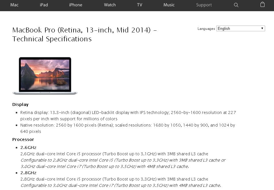 The Apple Specifications link takes you to the original Apple specifications page for the selected discout Mac laptop or desktop.