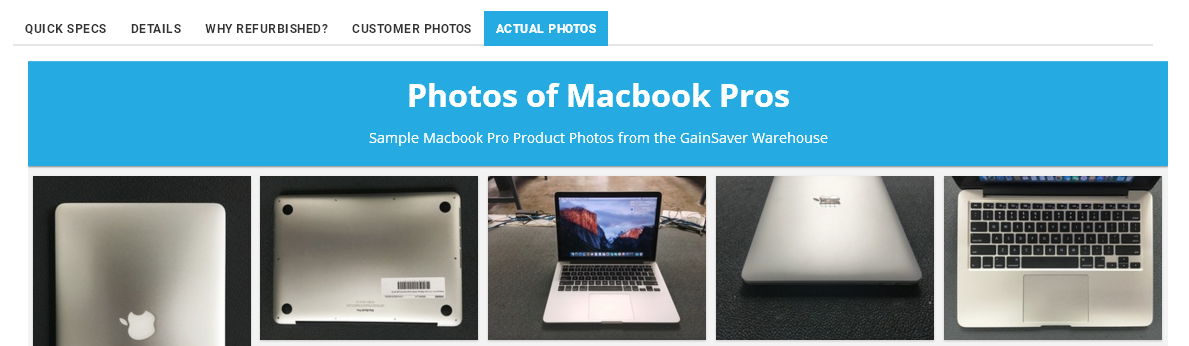 The Actual Photos tab shows images of used Macs taken by GainSaver technicians during testing and refurbishing.