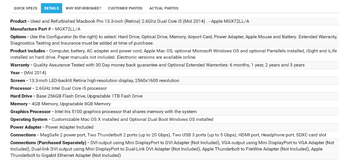 Under the Details tab you will find an extensive list of cheap used Mac system specifications, plus links to additional specs at the Apple website.
