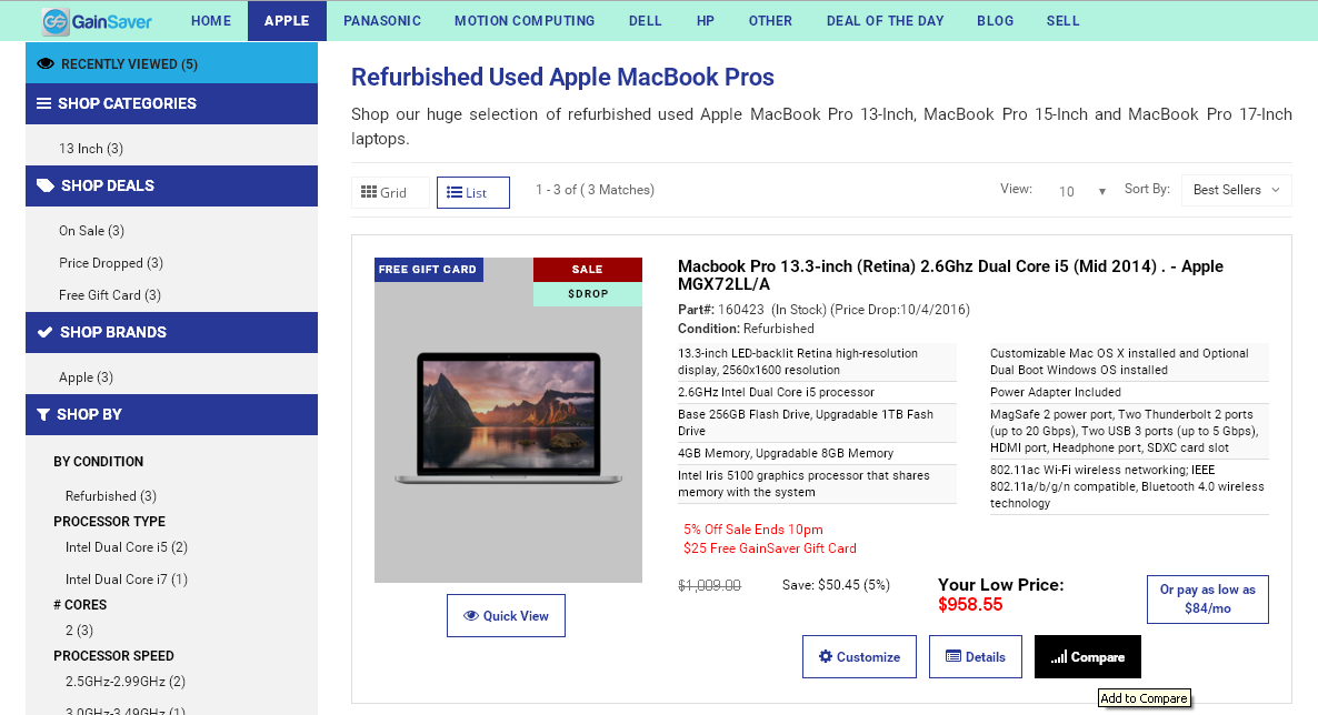 The Quick Specs for each used discount Mac appear in the list view.