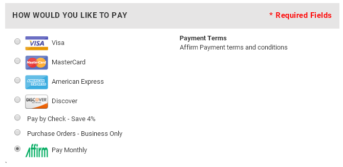Select the Affirm monthly payment option at checkout.