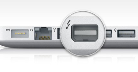 The Thunderbolt Port lets you add high speed peripherals to your cheap used Mac.