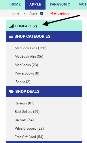 Click the Compare button compare the cheap discounted MacBook and MacBook Pro laptops you have selected.